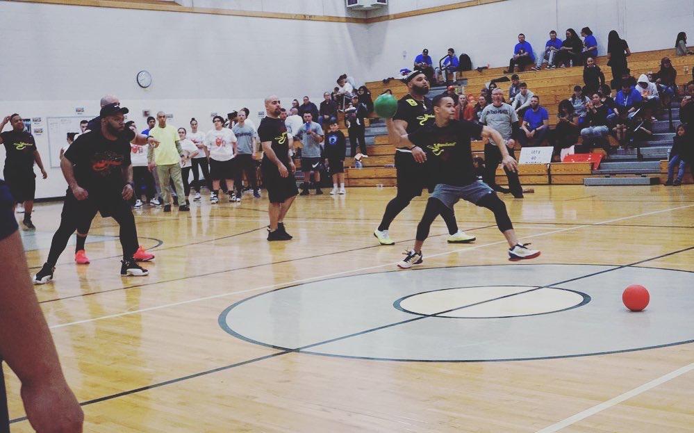 Jamie playing dodgeball