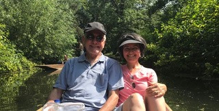 Tanyeli and her husband on a gondola