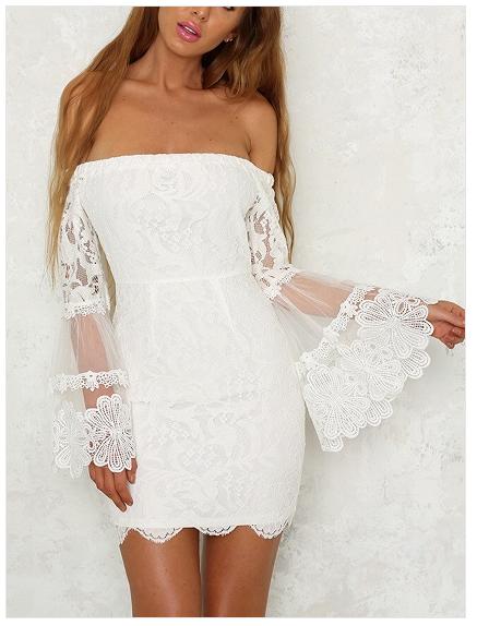 672835dae009 Pima White Off Shoulder Flare Sleeve Lace Bodycon Mini Dress