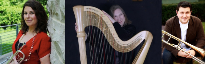 Allyson Keyser (trumpet), Karlinda Caldicott (harp), Phil Pandori (trombone)