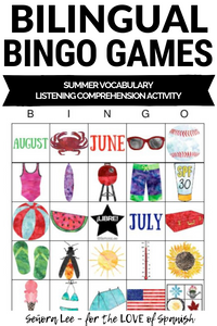 Spanish Summer Activity - Bingo