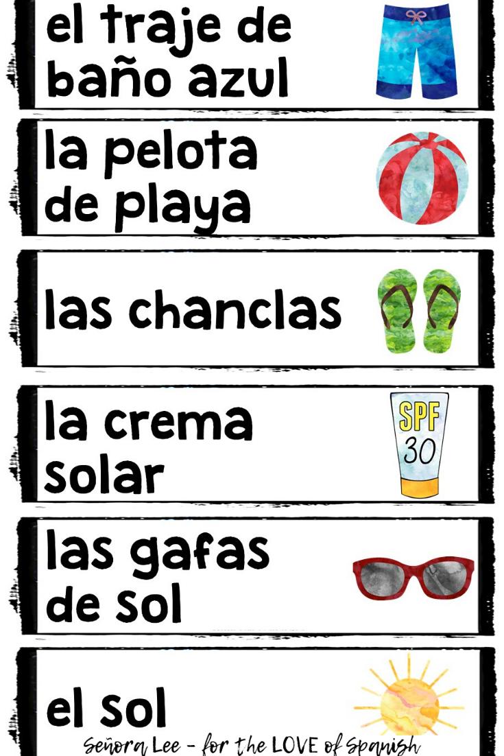 Spanish Summer Vocabulary - Summer Word Wall