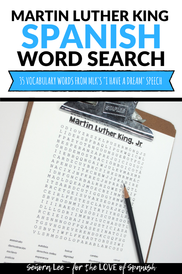Martin Luther King Spanish word search