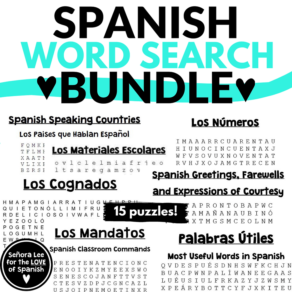 15 Spanish Word Search Activities