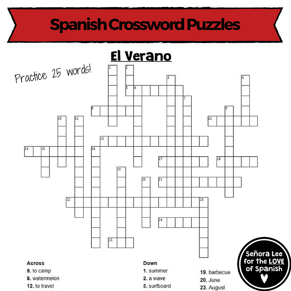 Spanish Summer Activities - Crossword Puzzle