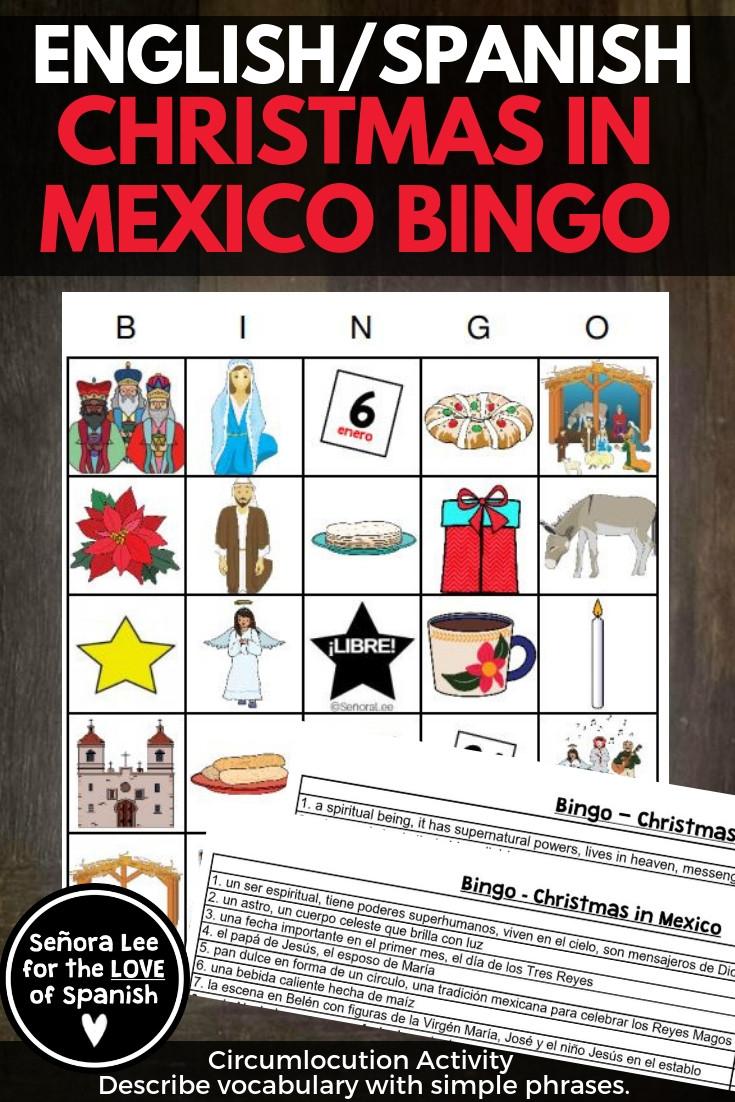 English Spanish Christmas in Mexico Bingo