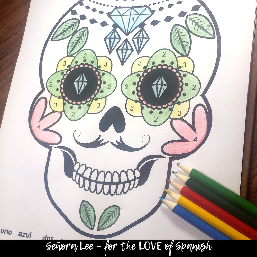 spanish day of the dead color by number