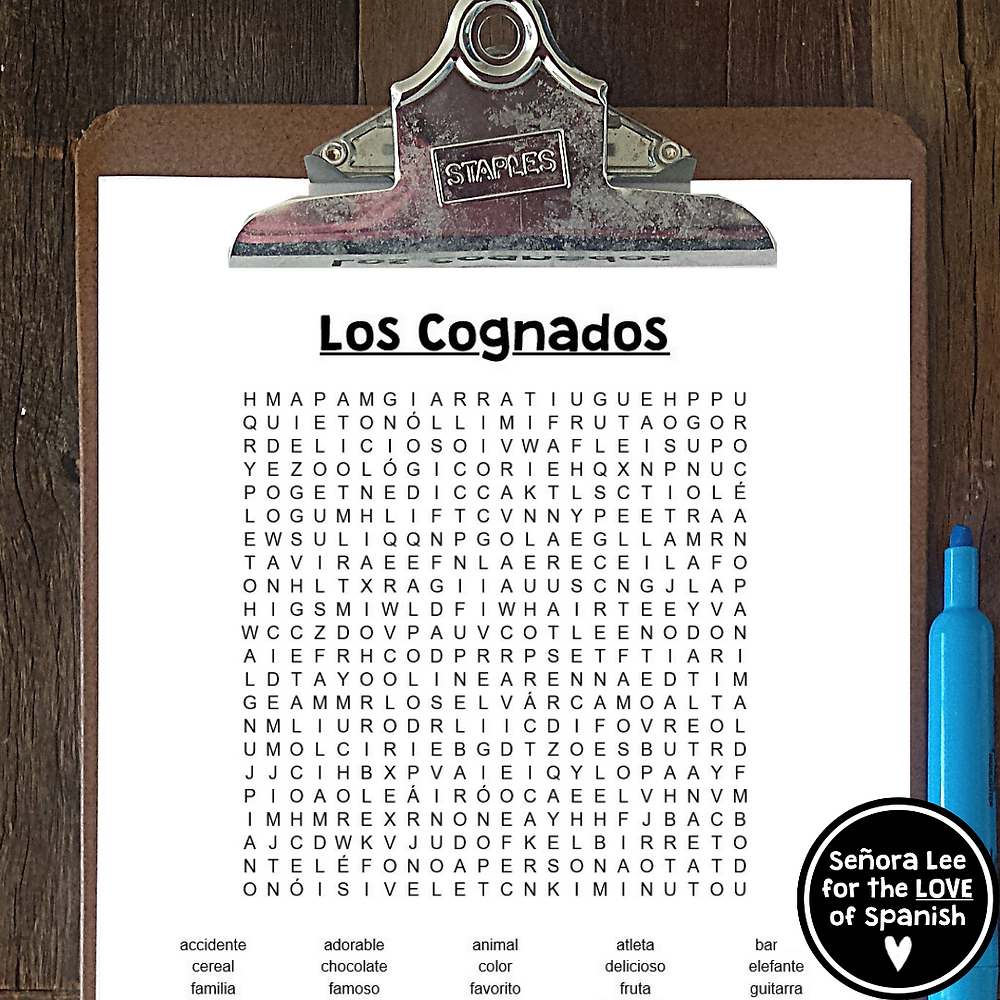 a list of Spanish cognates hidden in a word search puzzle