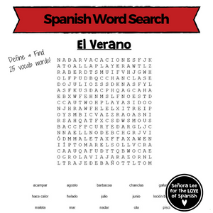 Spanish Summer Activities - Word Search