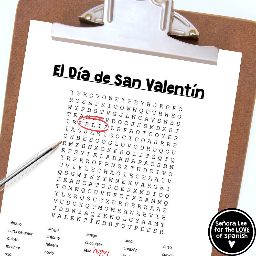 a clipboard with a pen and spanish word search puzzle
