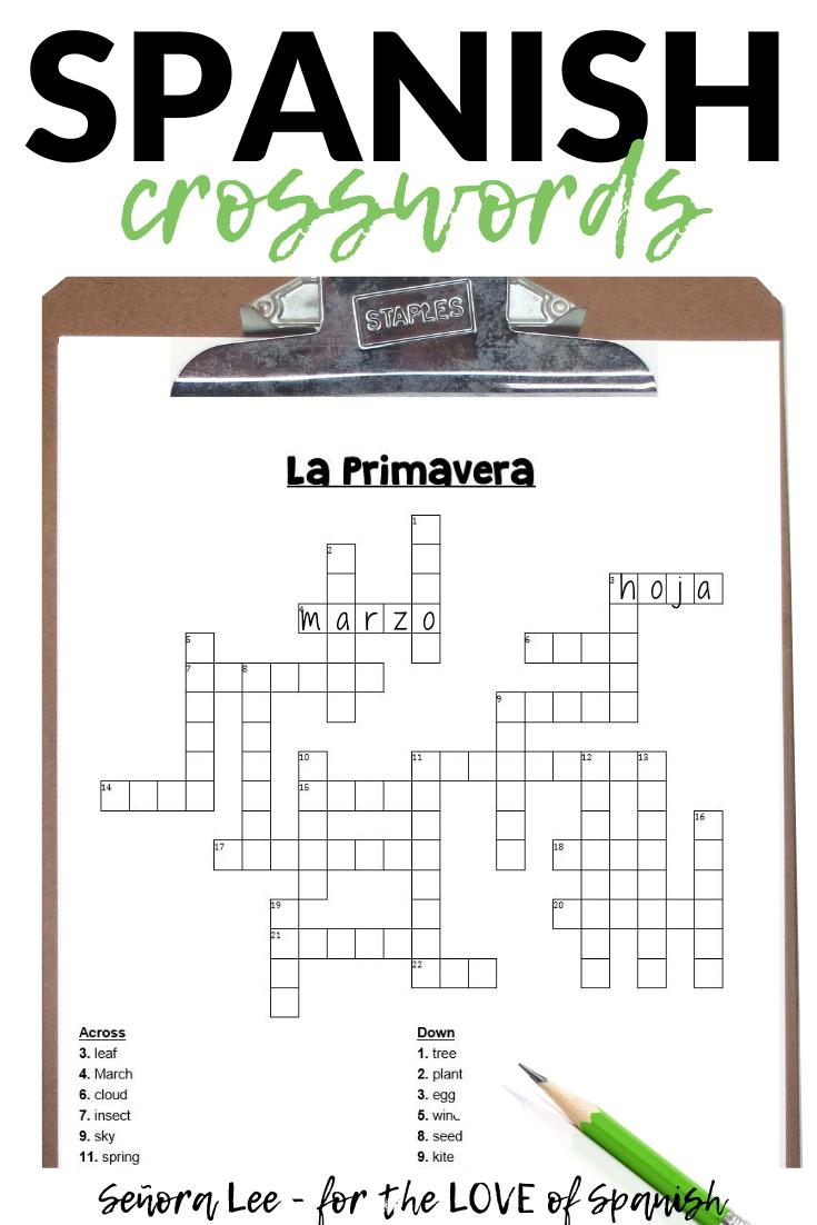 Spanish Spring Activities - Crossword Puzzle