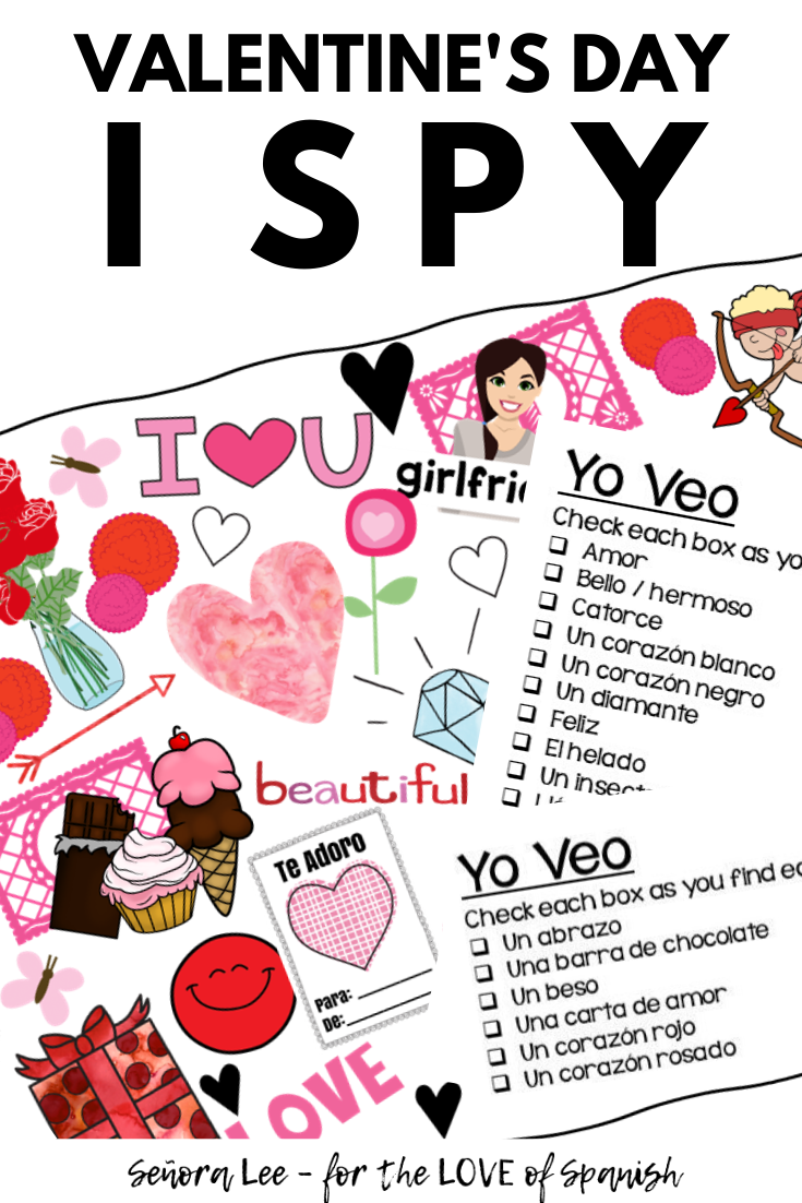 colorful images with checklists of Spanish vocabulary