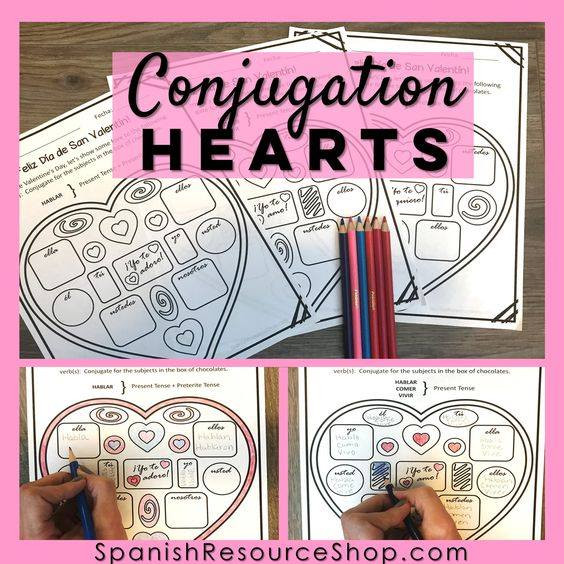 Spanish Conjugation Hearts