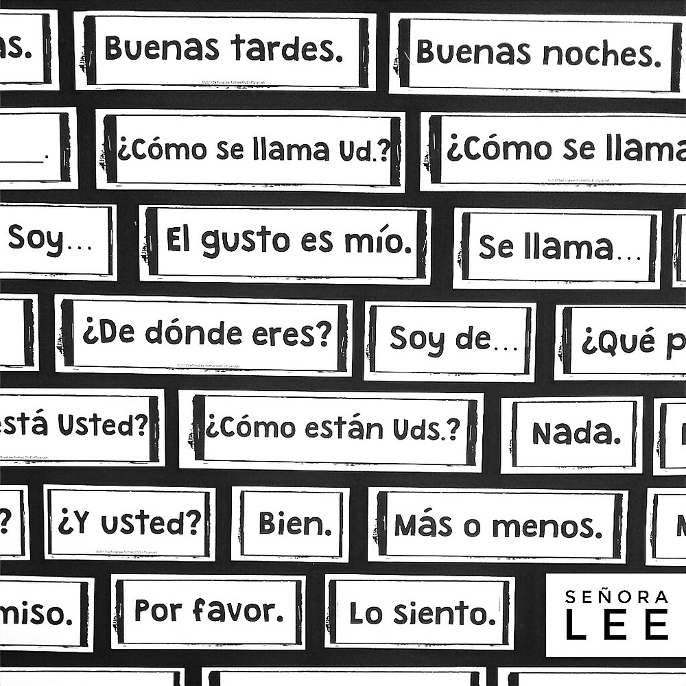 a bulletin board with spanish greetings vocabulary