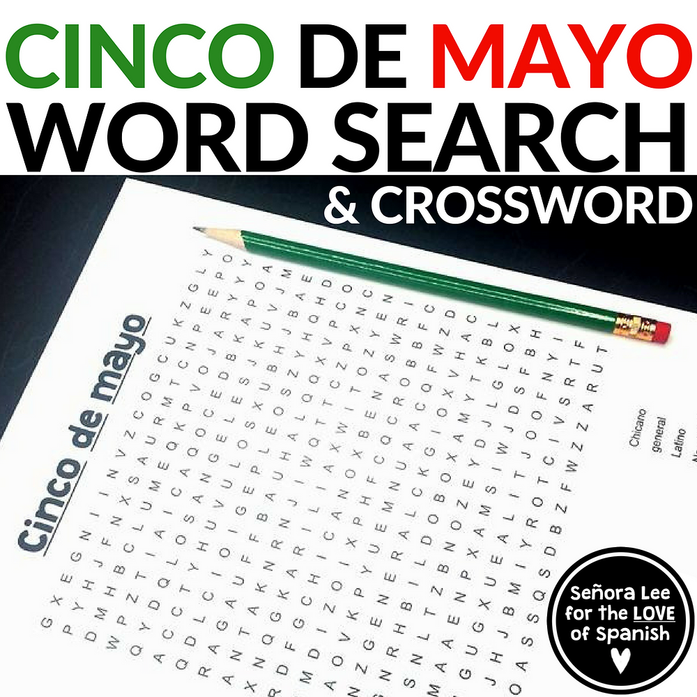 Spanish cinco de mayo word search