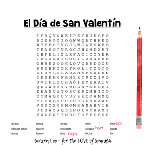 Spanish Valentines Day Word Search