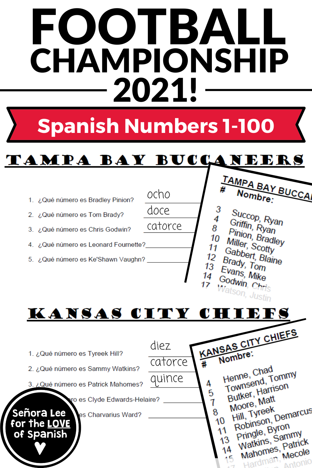Spanish Super Bowl Activity - Write player's jersey numbers in Spanish