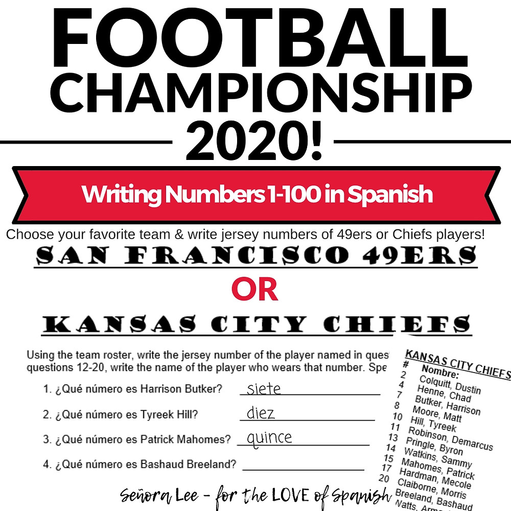 Spanish Numbers Activity with Football Rosters