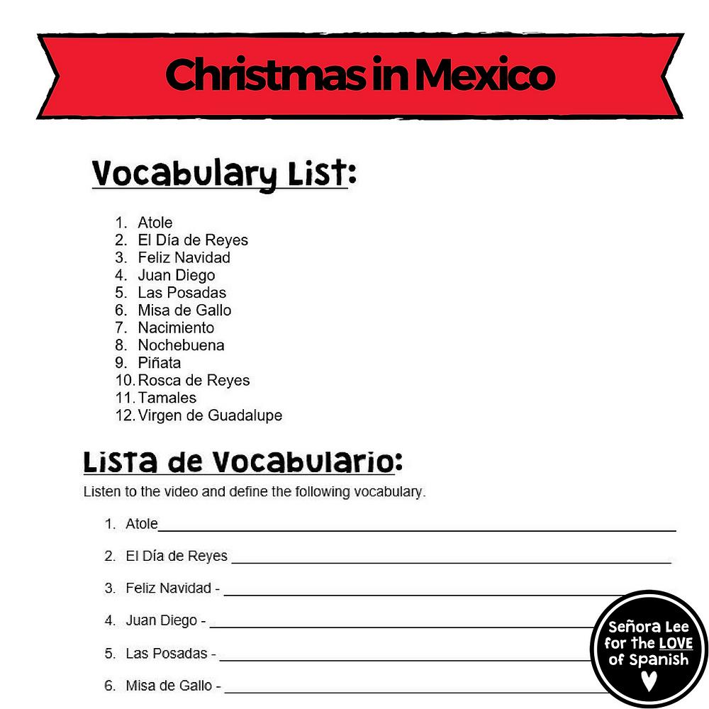Spanish Christmas in Mexico Crossword