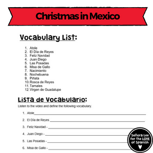 Spanish Christmas in Mexico Crossword