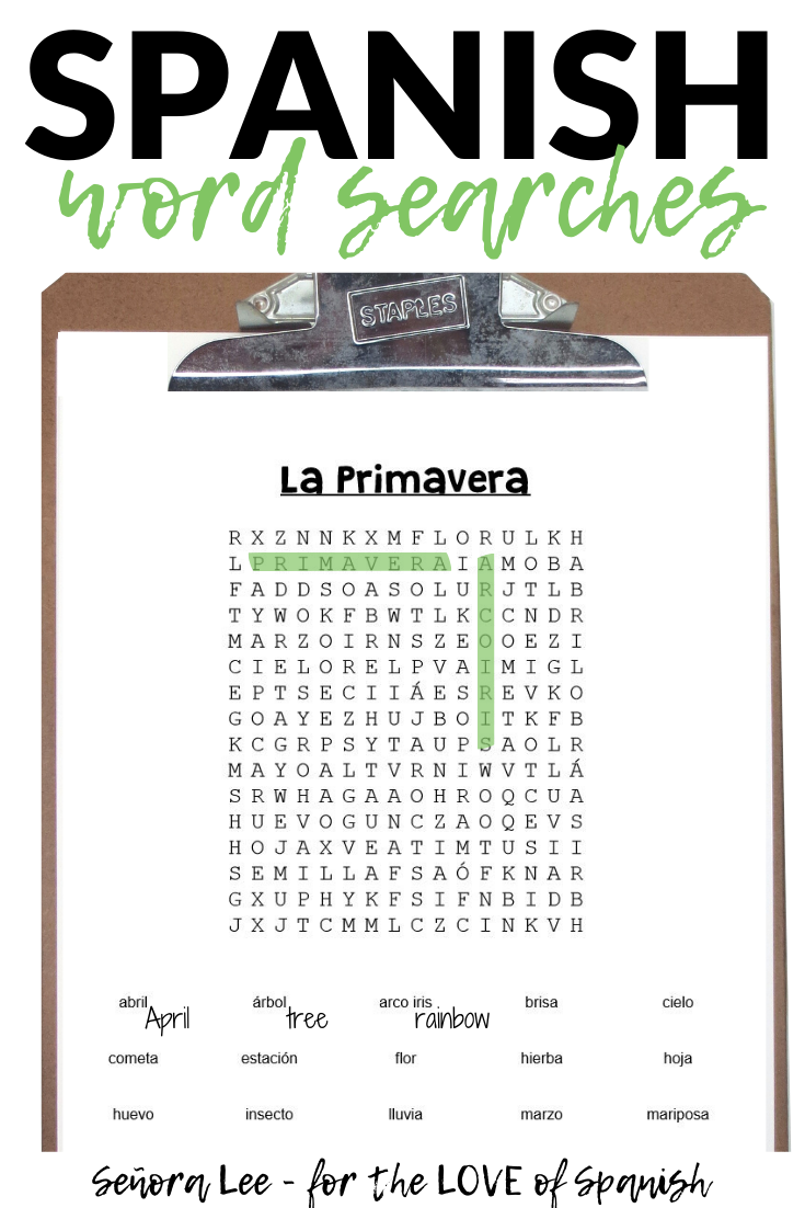Spanish Spring Activities - Word Search