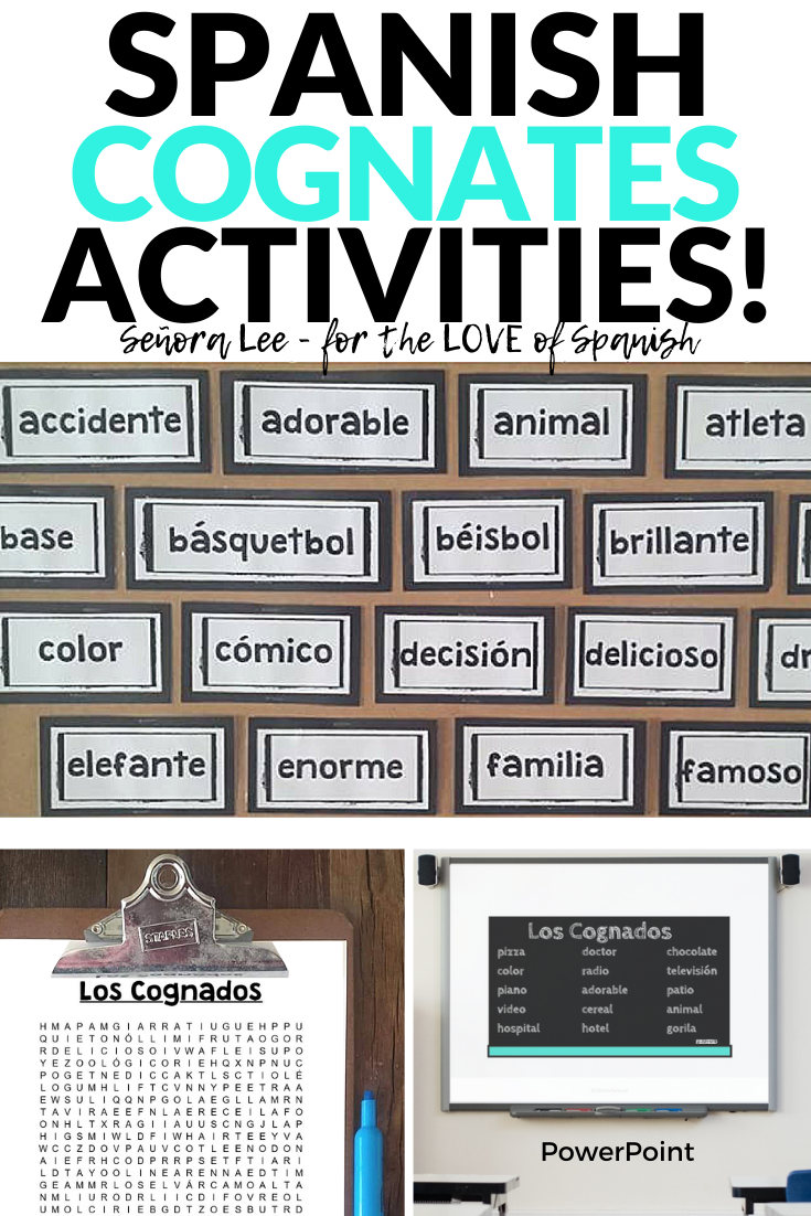 spanish cognates word wall, word search powerpoint