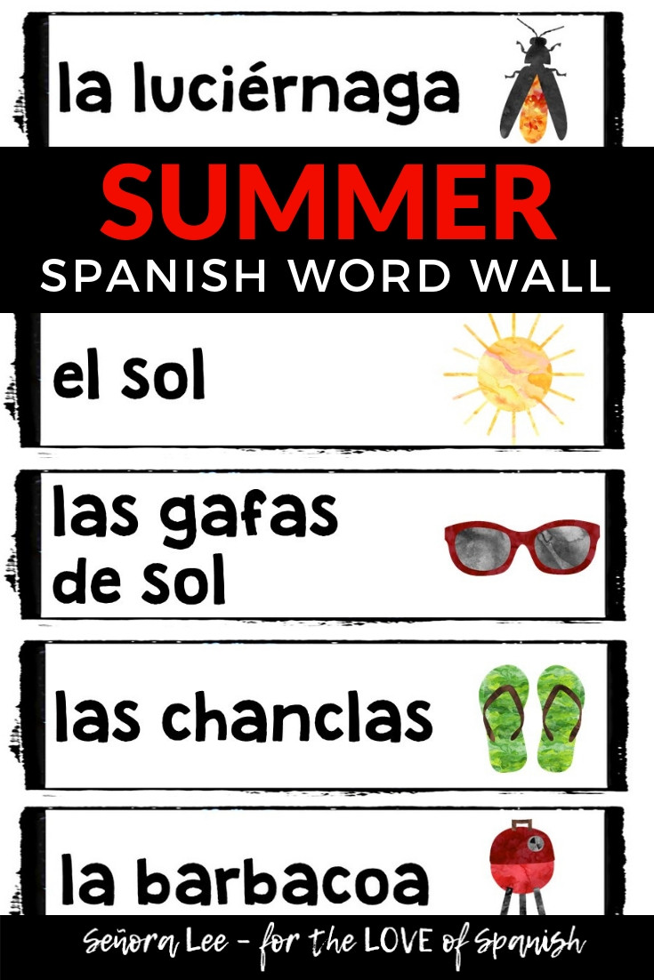 Spanish Summer Activities - Summer Word Wall