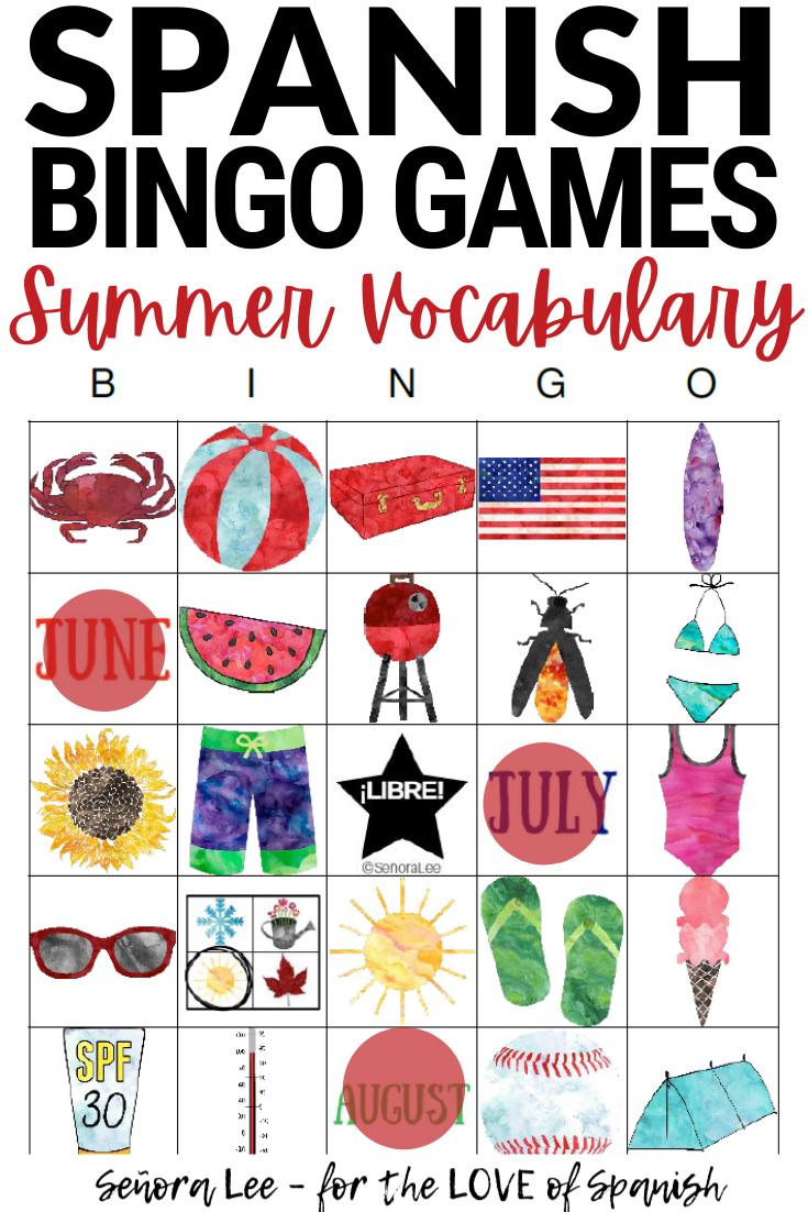 Spanish Summer Vocabulary Activity - Bingo Game