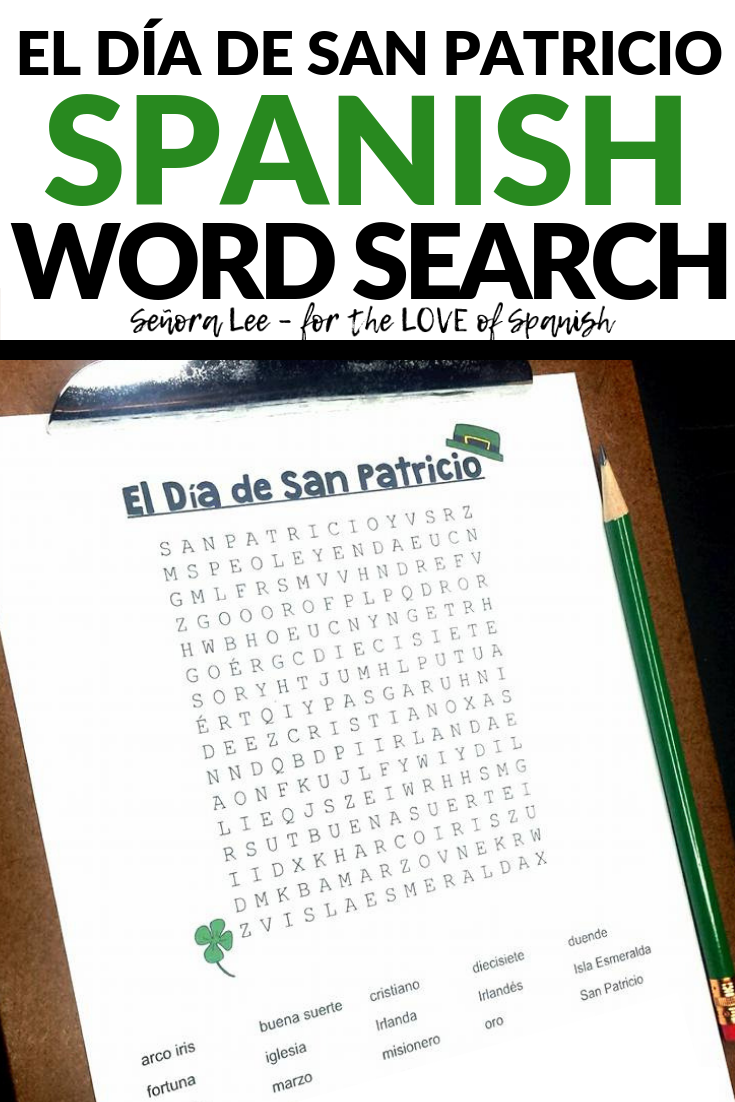 Spanish St. Patrick's Day Activity - Word Search