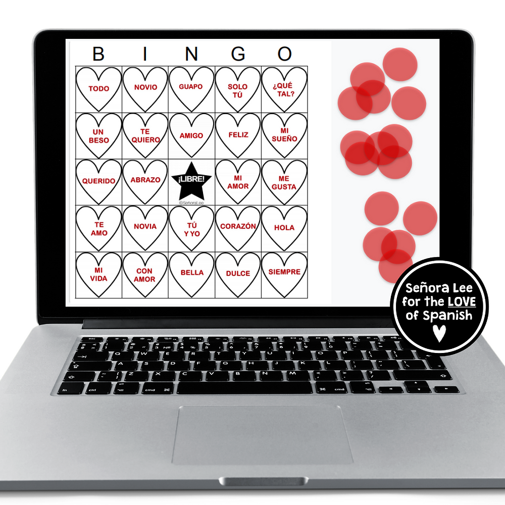 a laptop with a Spanish Valentine's Day bingo game
