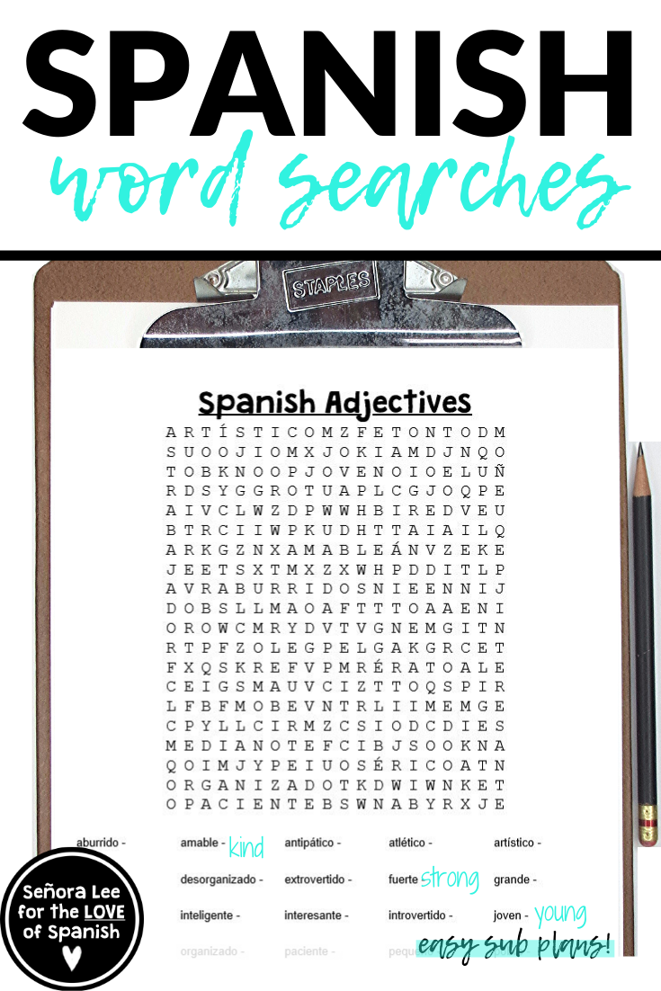 spanish adjectives list and word search