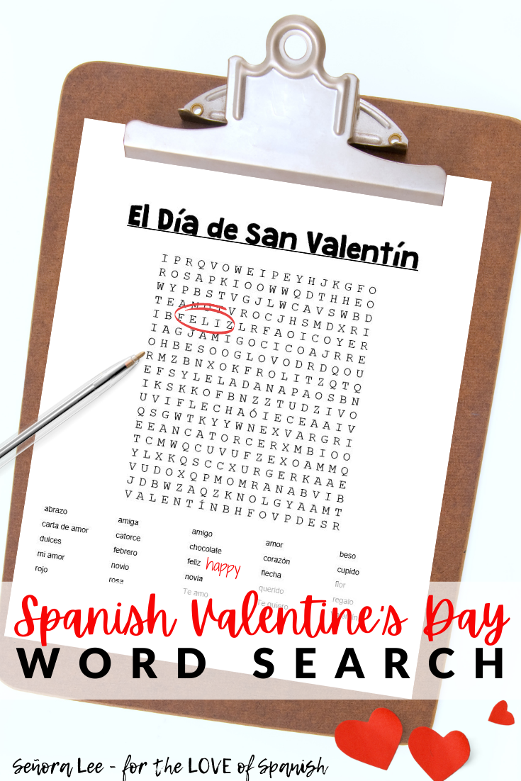 a clip board with a spanish word search puzzle