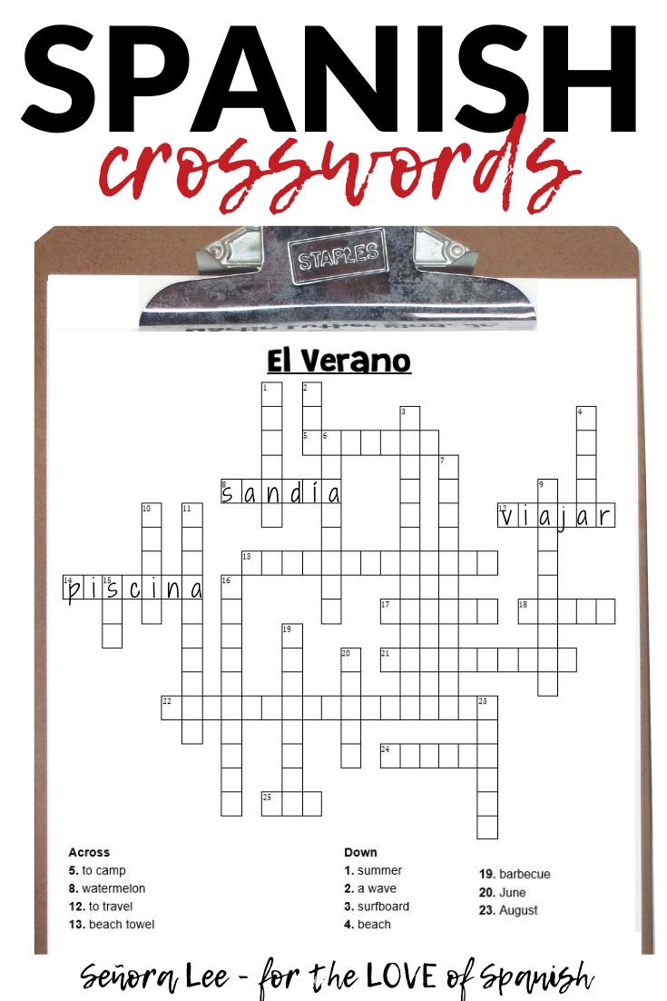 Spanish Summer Activities - Crossword Puzzle