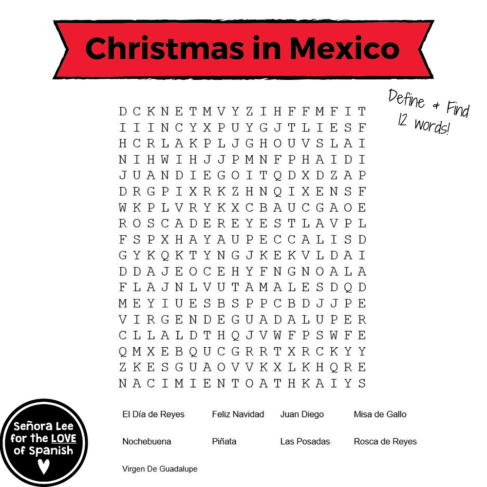 Spanish Christmas in Mexico Word Search