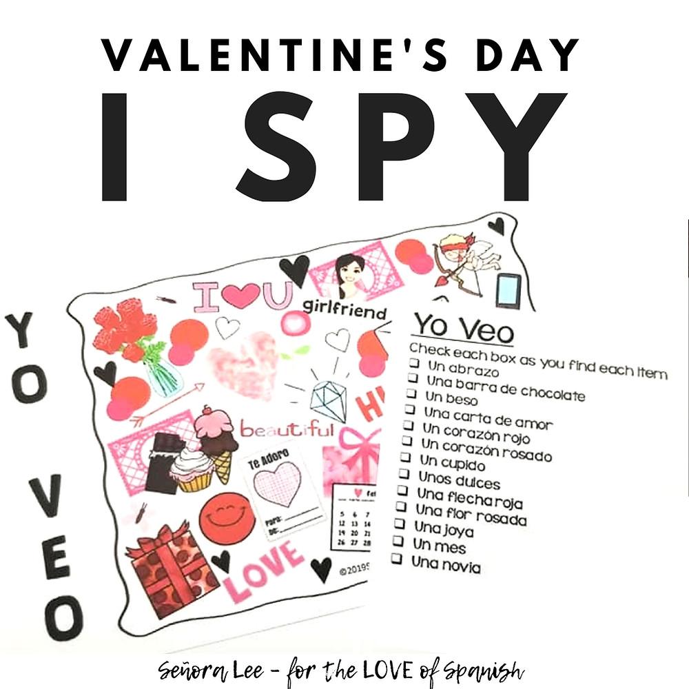 Spanish Valentines Day I Spy Activity