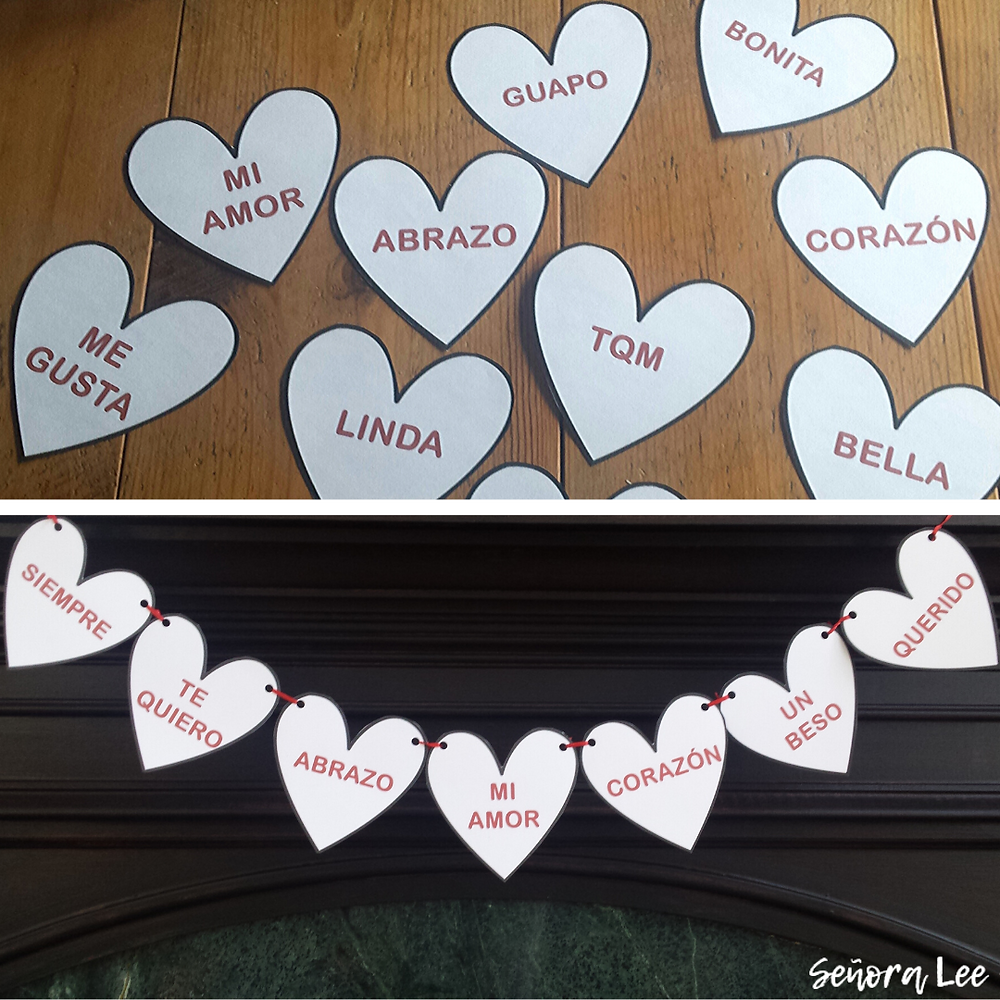 Paper hearts strung together with Spanish Valentine Vocabulary