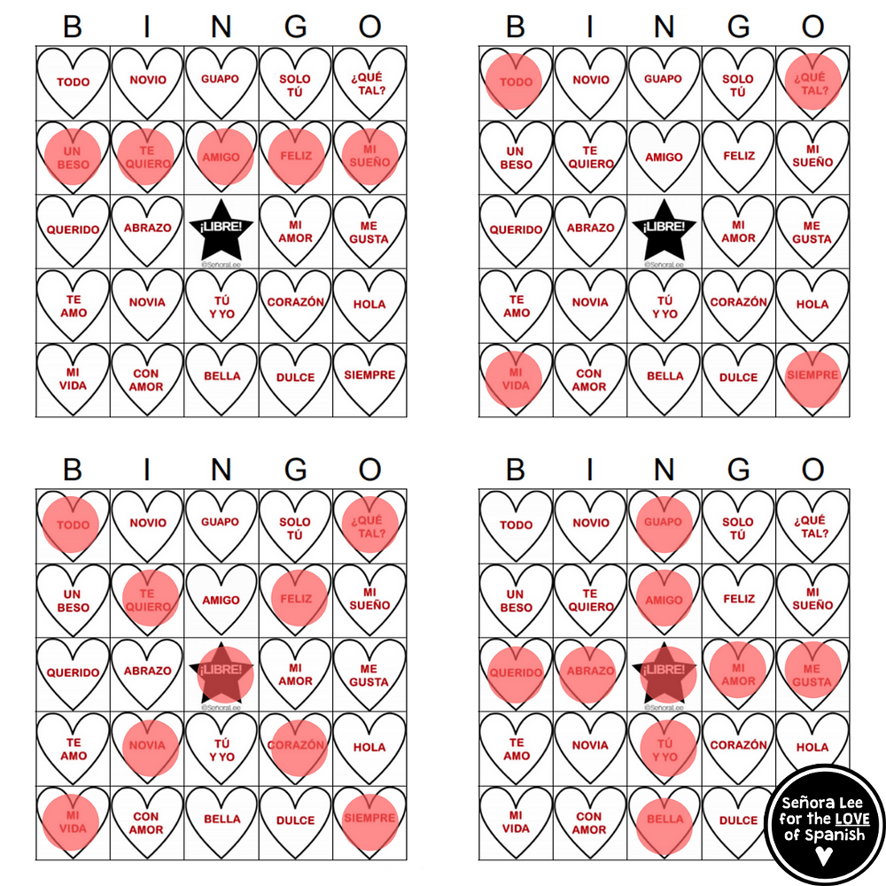 4 bingo boards with red bingo chips in various shapes