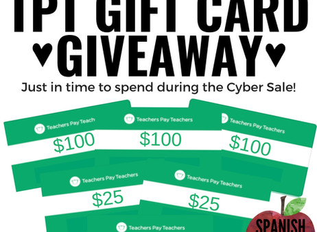 TPT Cyber Sale Gift Card Giveaway!