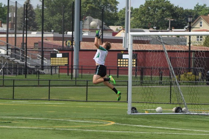 Spencer Bassette making a save