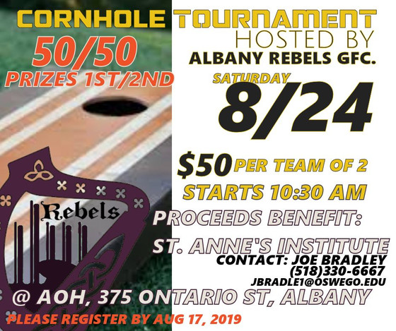 Rebels Hosting Cornhole Tournament Fundraiser - August 24