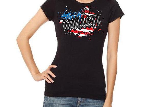 Women's Mullett Flag T-shirt (Black)
