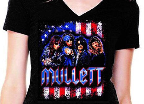 Women's V-neck Mullett Flag T-shirt (Black)