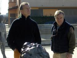 Roberto Barni con Aldo Busi in visita alla Salvadori Arte (3).JPG