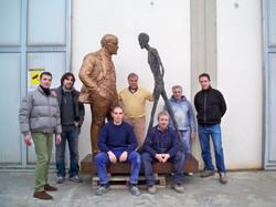 Sokov Leonid - Meeting Two Sculptures - Lenin & Giacometti h. cm. 225. Foto con