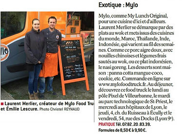 Article de Presse de Mylo Food Truck sur le journal Le progrès du 18 novembre 2016