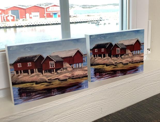 Fotoblock sjöbodar landmärke