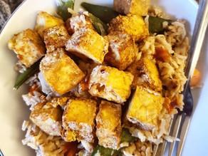 Sticky Veggie Rice with Crispy Tofu