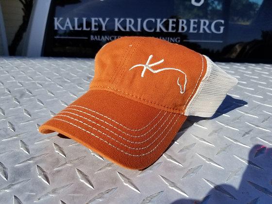 Burnt Orange/Cream soft mesh, short bill K-horse BHT ball cap