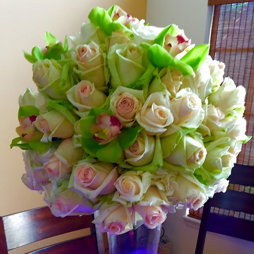 Rose Ball with Cymbidium Orchids