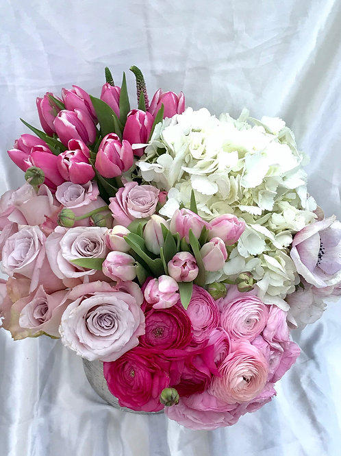 Blush Charm--Roses, Ranunculus, Anemone, Tulips and Hydrangeas